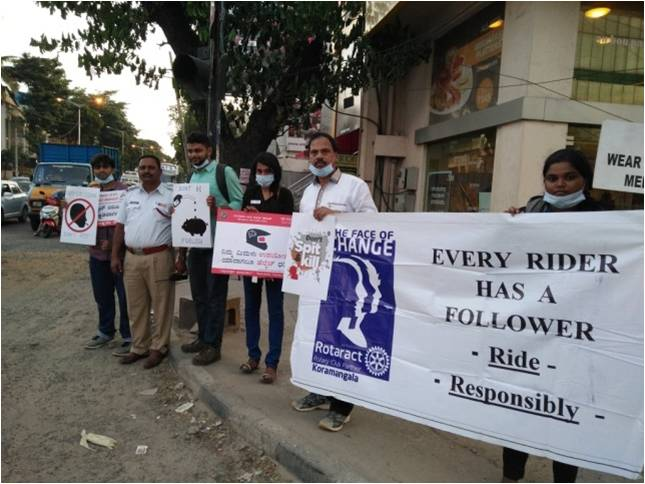 Rotaract Koramangala Bengaluru Traffic Safety-Save Fuel-Anti Spitting Awareness 1.0