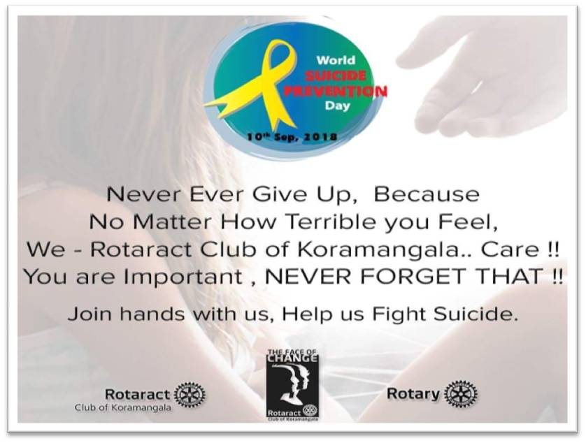 Rotaract Koramangala Bengaluru World Suicide Prevention Day