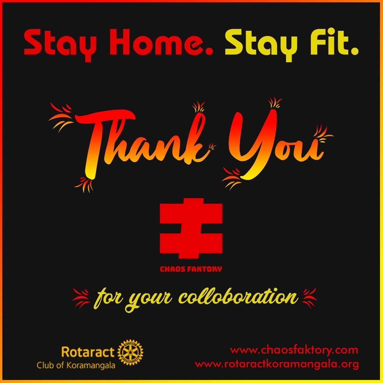 Rotaract Koramangala Bengaluru Stay Home 🏡 Stay Fit 💪