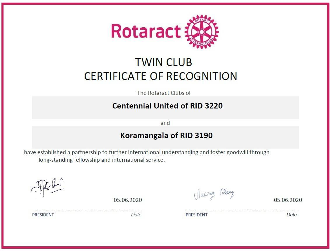Rotaract Koramangala Bengaluru Twin Club Agreement
